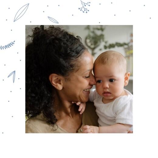 Carte de remerciement Merci élégant feuillage photo bleu
