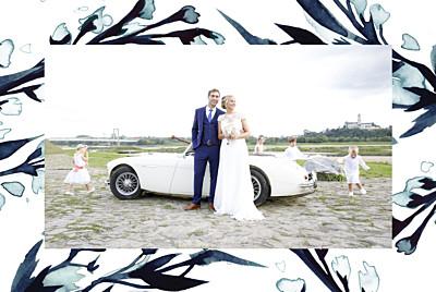 Carte de remerciement mariage Bleu de minuit bleu finition