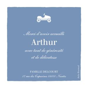Carte de remerciement Merci petite voiture photo bleu wedgwood