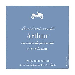 Carte de remerciement jouets merci petite voiture photo bleu wedgwood
