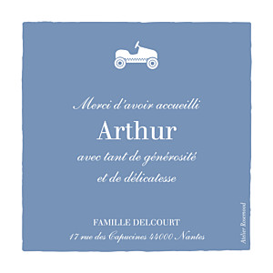 Carte de remerciement marron merci petite voiture photo bleu wedgwood