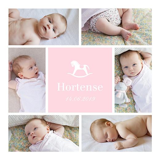 Carte de remerciement Merci petit cheval 6 photos rose layette