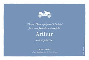 Faire-part de naissance jouets petite voiture photo paysage bleu wedgwood