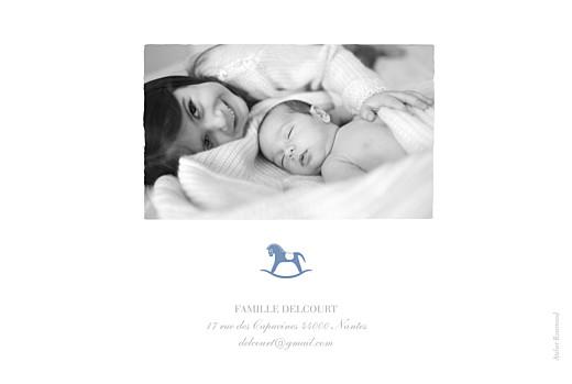 Faire-part de naissance Petit cheval 2 photos paysage bleu wedgwood