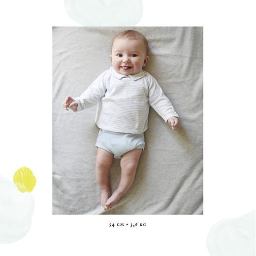 Faire-part de naissance Bulles d'aquarelle photo bleu-jaune - Page 2