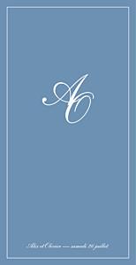 Menu de mariage classique chic liseré (4 pages) bleu