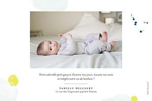 Faire-part de naissance Bulles d'aquarelle photo rv bleu-jaune