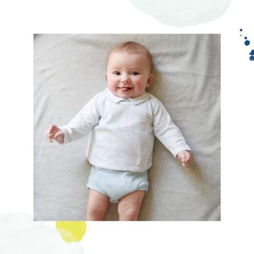 Faire-part de naissance Bulles d'aquarelle (triptyque) bleu-jaune - Page 4