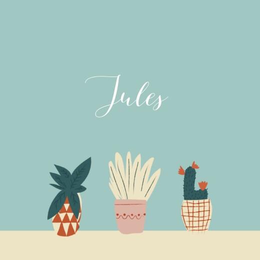 Faire-part de naissance Cacti cactus photo bleu