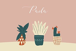 Faire-part de naissance rose cacti cactus 4 photos rose