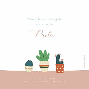 Carte de remerciement Merci cacti cactus photo rose