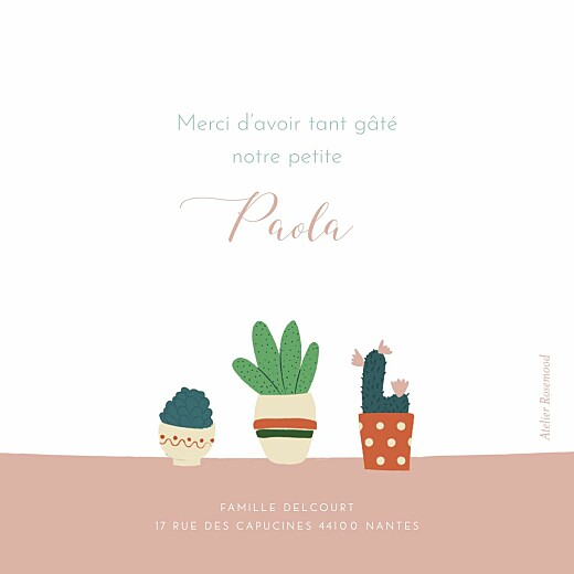 Carte de remerciement Merci cacti cactus photo rose