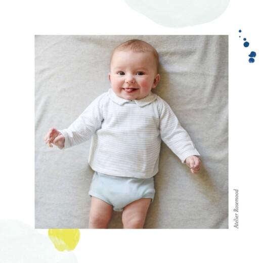 Carte de remerciement Petites bulles d'aquarelle bleu-jaune