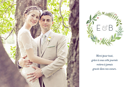 Carte de remerciement mariage Murmure de forêt paysage vert