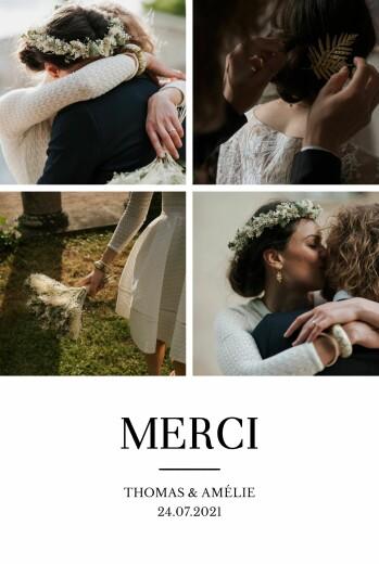 Carte de remerciement mariage Élégant 4 photos blanc