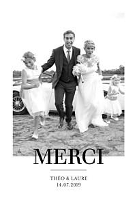 Carte de remerciement mariage tous genres moderne chic 1 photo portrait blanc