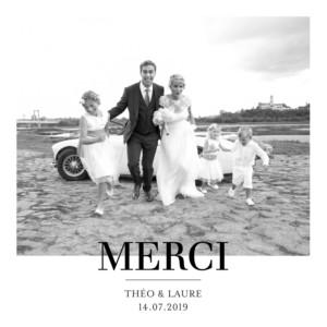 Carte de remerciement mariage Moderne chic 1 photo blanc