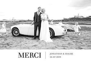 Carte de remerciement mariage Bandeau chic 1 photo blanc