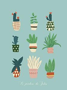 Affichette bleu cacti cactus bleu