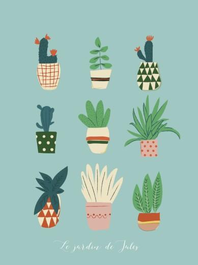 Affichette Cacti cactus bleu - Page 1