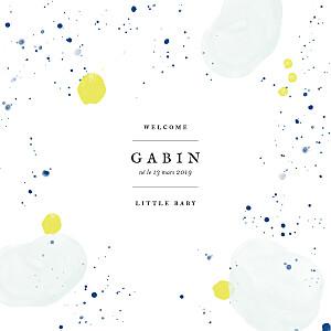 Faire-part de naissance original bulles d'aquarelle photo bleu-jaune