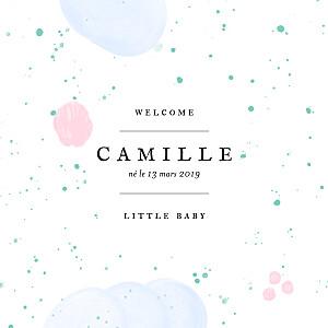 Faire-part de naissance bleu bulles d'aquarelle (triptyque) bleu-rose