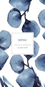 Menu de mariage Ombres florales (4 pages) bleu