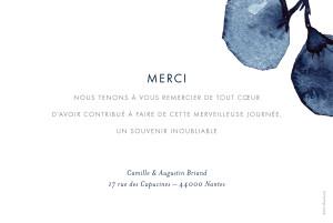 Carte de remerciement mariage Ombres florales bleu