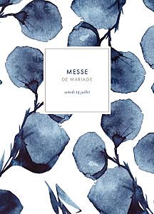 Livret de messe mariage original ombres florales bleu