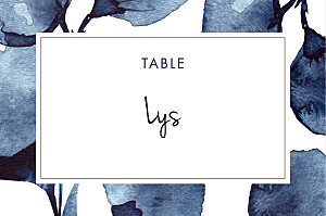 Marque-table mariage orange ombres florales bleu