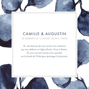 Faire-part de mariage Ombres florales bleu