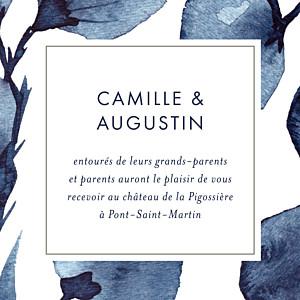 Carton d'invitation mariage original ombres florales bleu