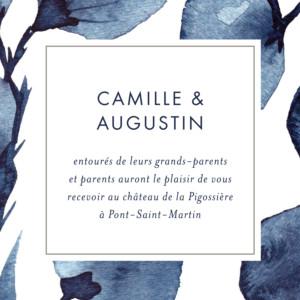 Carton d'invitation mariage Ombres florales bleu
