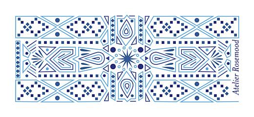 Etiquette de mariage Nomade bleu