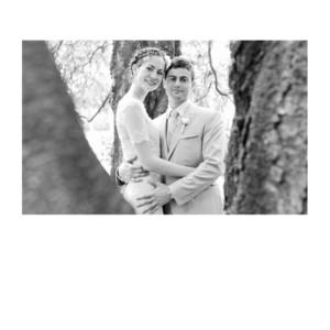 Carte de remerciement mariage Simple 1 photo (dorure) blanc
