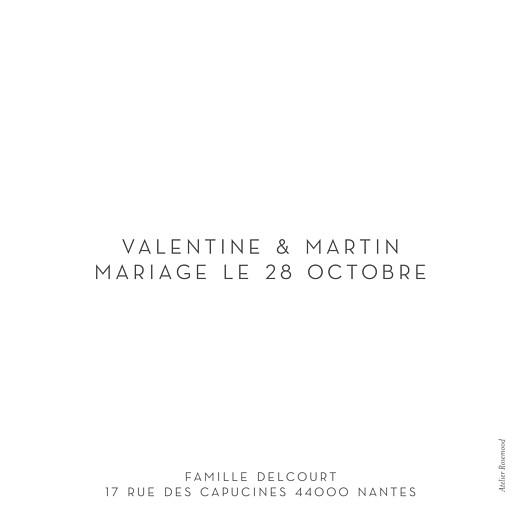 Carte de remerciement mariage Simple 1 photo (dorure) blanc - Page 2
