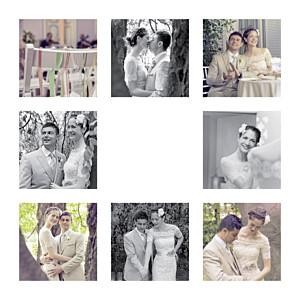 Carte de remerciement mariage dorure simple 8 photos (dorure) blanc