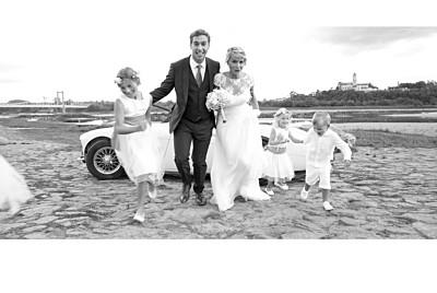 Carte de remerciement mariage Bandeau photo paysage (dorure) blanc finition