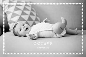 Faire-part de naissance avec photo mon chéri paysage blanc