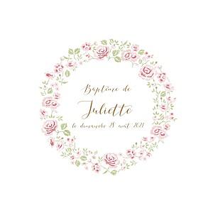 Faire-part de baptême tomoë  couronne de roses blanc