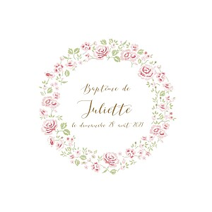 Faire-part de baptême Couronne de roses blanc