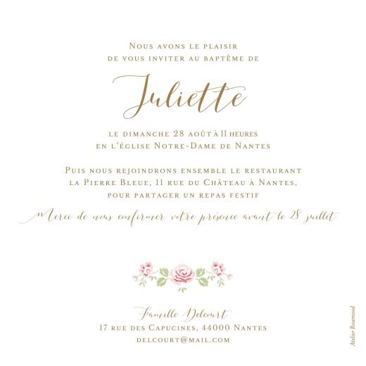 Faire-part de baptême Couronne de roses blanc - Page 2