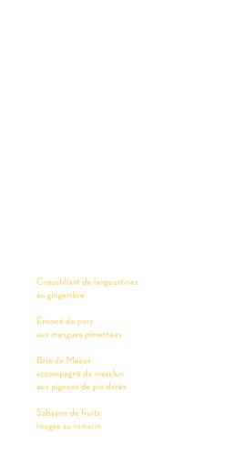 Menu de mariage Aquarelle (4 pages) jaune - Page 3