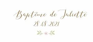 Etiquette de baptême vintage couronne de roses blanc