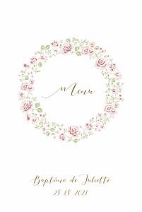 Menu de baptême classique couronne de roses blanc