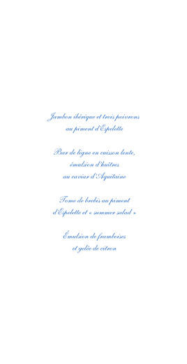 Menu de mariage Chic médaillon bleu - Page 3