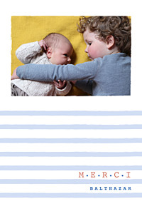Carte de remerciement rayures merci marinière photo bleu
