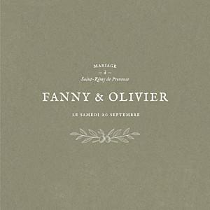 Faire-part de mariage vintage provence (4 pages) olive