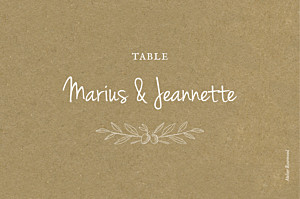 Marque-table mariage classique provence kraft