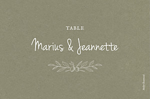 Marque-table mariage vert provence olive
